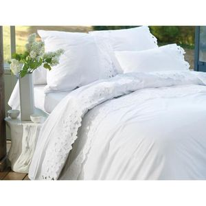 Housse de couette broderie anglaise achat vente housse - Housse de couette anglaise ...