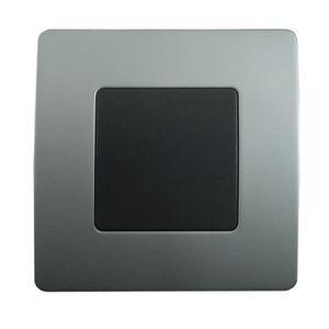 PLAQUE DE FINITION Plaque Cache boîte 75 x 75 Noir - Chrome