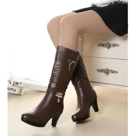 Épaisse avec des bottes à talons hauts bottes hautes bottes de neige des femmes bottes antidérapantes à fond épais, Brown 35