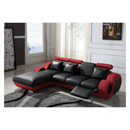 Canap d 39 angle m ridienne noir rouge barcelone achat - Canape d angle rouge ...