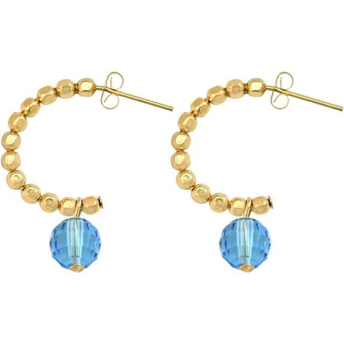 Gemshine - Dames - Boucles doreilles - or - boucle - bleu - 3 cm
