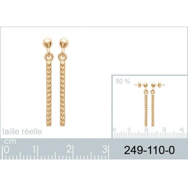 Boucles doreilles chaîne longue en plaqué or