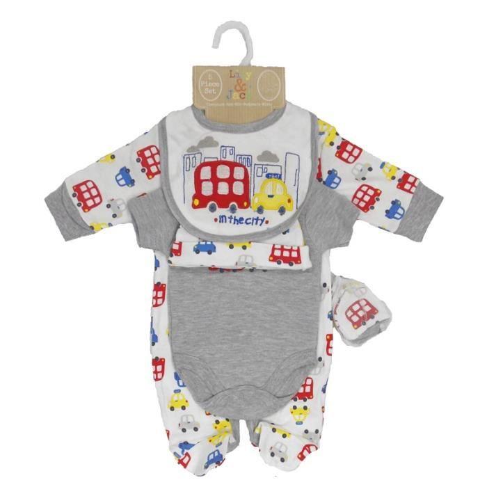 ensemble cadeau de naissance b b gar on pyjama body bonnet bavoir moufles voiture achat. Black Bedroom Furniture Sets. Home Design Ideas
