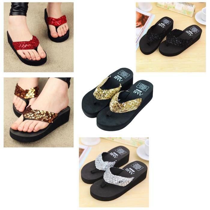 Nouvelles Tangs a paillettes pantoufles a talon epais avec un plate-forme impermeables sandales antiderapante