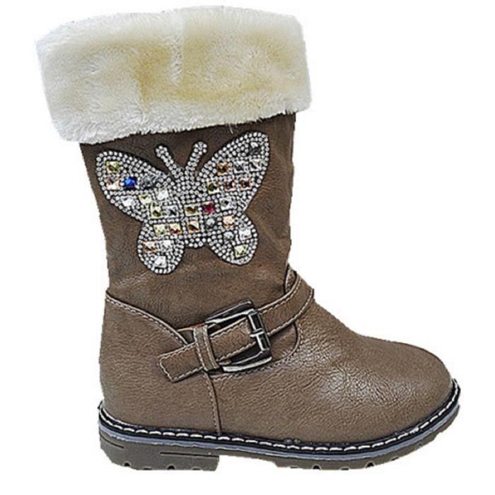 Fashionfolie888 - Filles bottes bottine zip fourrure fourrée strasse papillon T 25/36 901 TAUPE