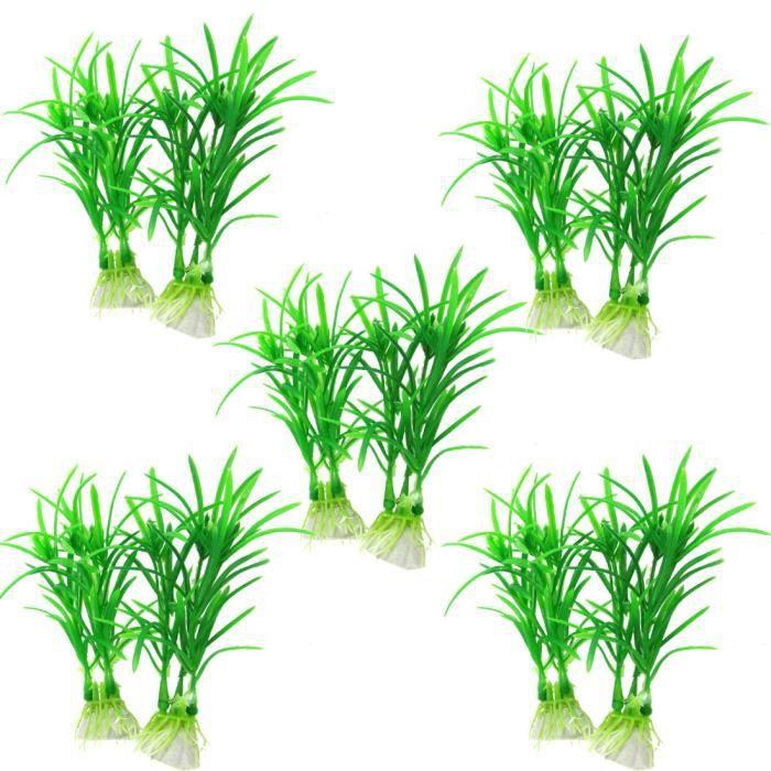"""Sourcingmap 10 X Émulation Paysage Aquarium Plante Eau Plastique Vert 4 3-10"""""""