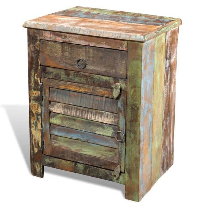 table de chevet vintage multicolore 1 tiroir - achat / vente table
