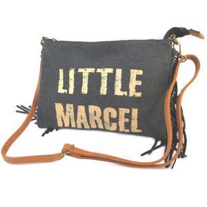 Little Marcel [P2639] - Sac créateur 'Little Marcel' noir doré (franges) - 31x24x6.5 cm khpUIe
