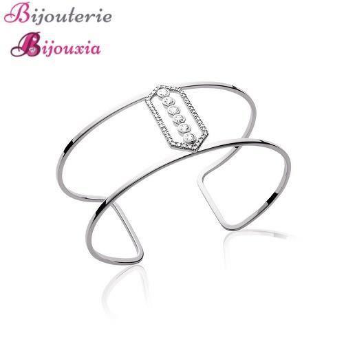 Bracelet Jonc Ouvert Large ZIRCONIUM Argent 925/1000 Rhodié Bijoux