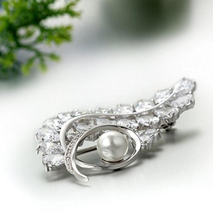 Broche Femme Elégant Branche Zircon Artificielle Perle Epingle Vêtements Écharpe Mariage Soirée