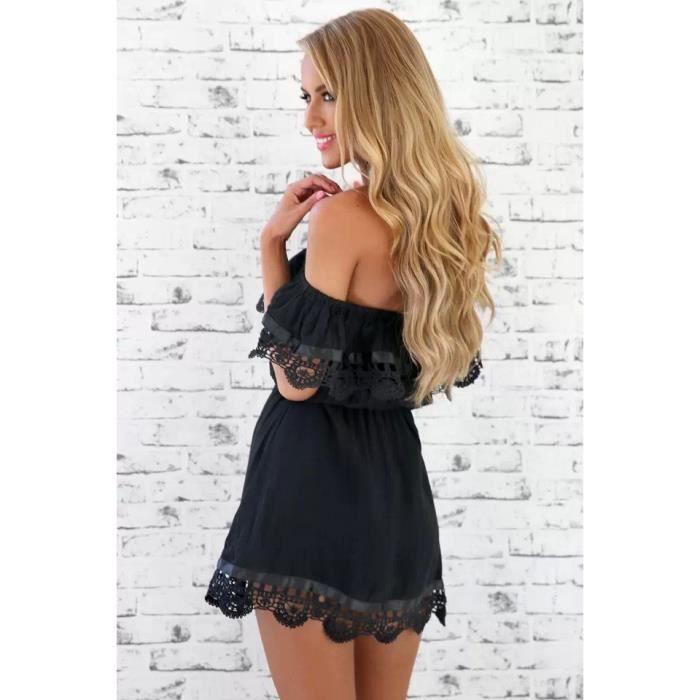 Mode femme vintage élégante dentelle douce robe...