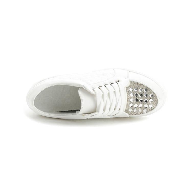 Chaussure Compensee Femme Basket Augmentation De La Hauteur Grande Taille Populaire BLKG-XZ111Blanc35