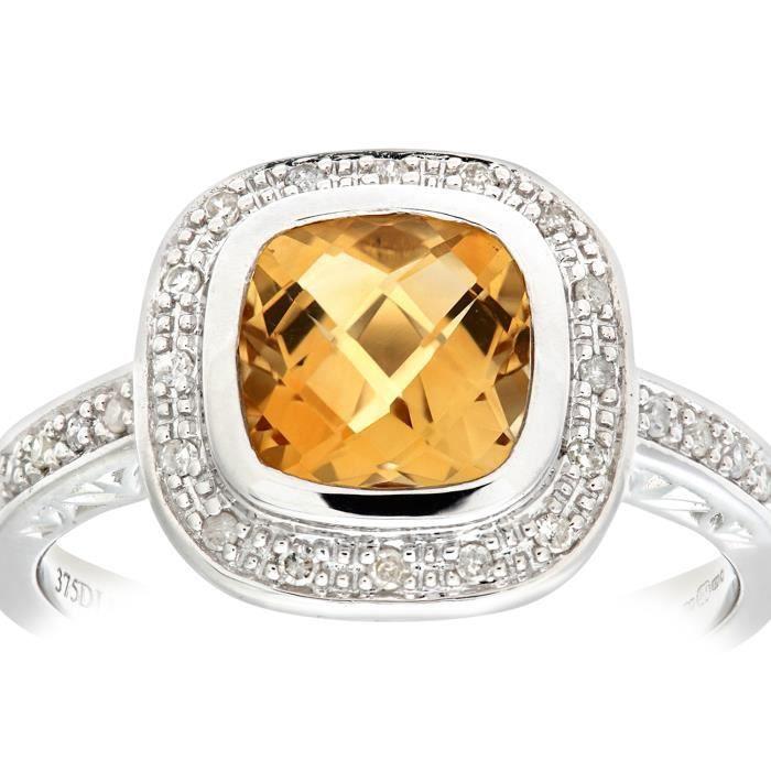 Revoni Bague Citrine et Diamant Or Blanc 375° Femme: Poids du diamant : 0.1 ct - CD-PR06226WCT-P