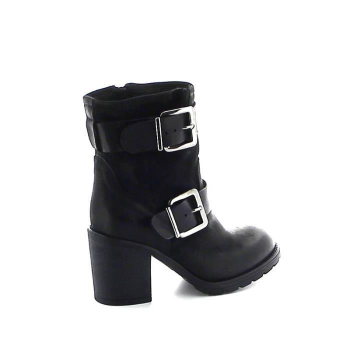 Boots en cuir double sangles - Noir