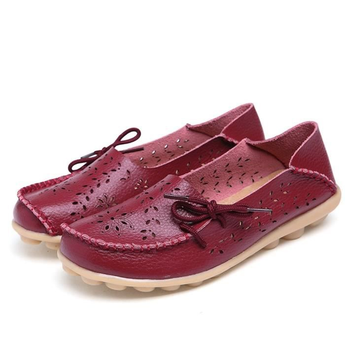 Women' S Leather Loafers Casual Moccasin Driving Outdoor Shoes Indoor Flat Slip-on Slippers Y83LK Taille-38 1-2