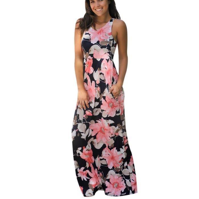 Vroenment®Robe sans manches à imprimé floral sans manches pour femmes@zf166