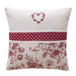 DEKOANDCO Coussin Audalice - 40x40 - Rouge