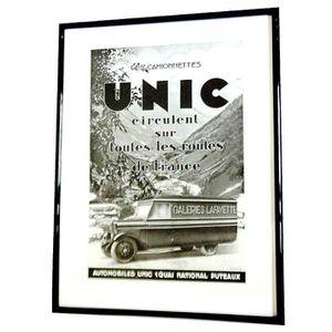 OBJET DÉCORATION MURALE Cadre ancienne PUB Authentique 1931 CAMIONNETTE UN