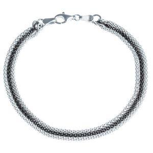 BRACELET - GOURMETTE Bracelet en argent rhodié 925/1000 18 cm Maille Po