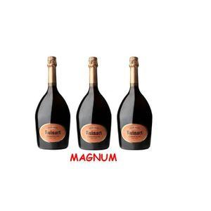 CHAMPAGNE Lot de 3 Magnums de Champagne Ruinart Brut Rosé 1,