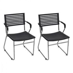 CHAISE Chaise empilable avec accoudoir 2 pièces Noir