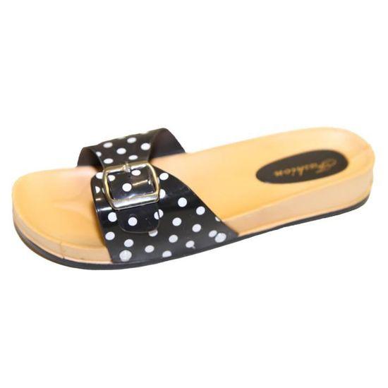 plus grand choix de lacer dans sortie en vente Claquette sandale tong de bain plage piscine femme à pois bride en  plastique !