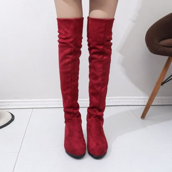 c4c0b13e8f278f Bottes Suede Spentoper Long Plates Femmes rouge Court D'hiver Cavalières  Automne U4TwS4q