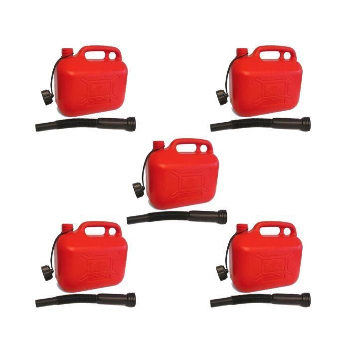 LOT de 5 Jerricans Plastique Rouge IMDIFA pour Hydrocarbures 10L