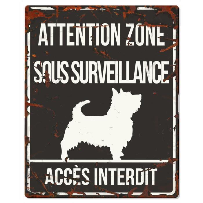 D&D Plaque Attention Chien Terrier - Noir