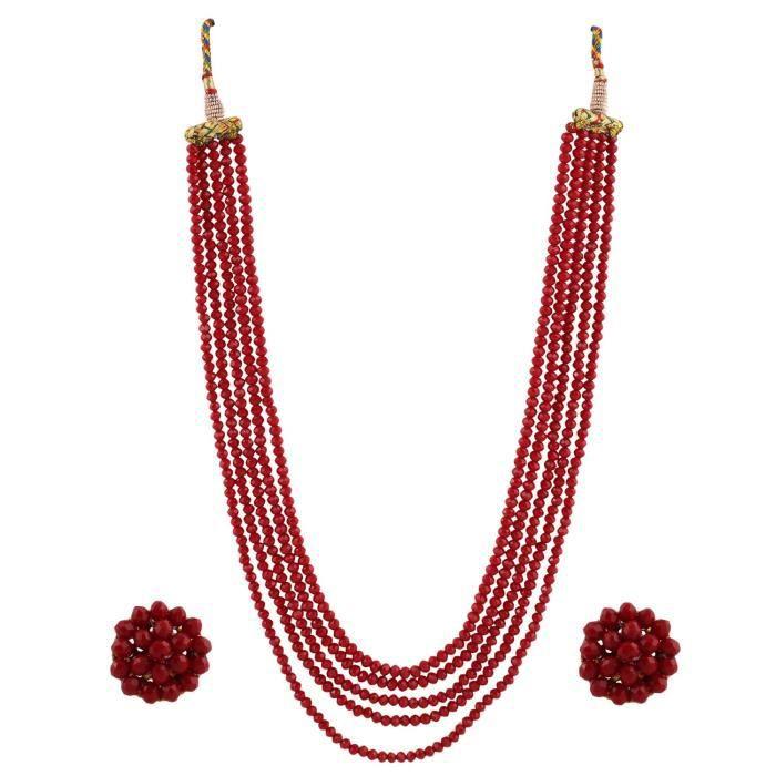 collier de perles en cristal de cinq couches de la femme avec des boucles doreille? VU310