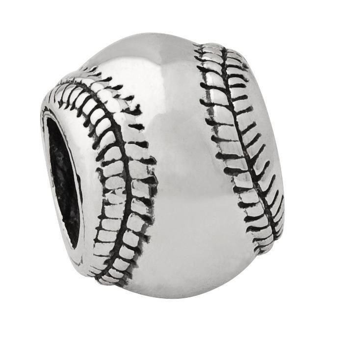 Charm perle Argent Sterling réflexions de Baseball
