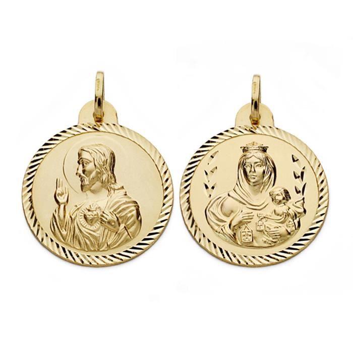 Médaille pendentif 18k or Virgen del Carmen et Jésus-Christ 24mm. [AA0560]