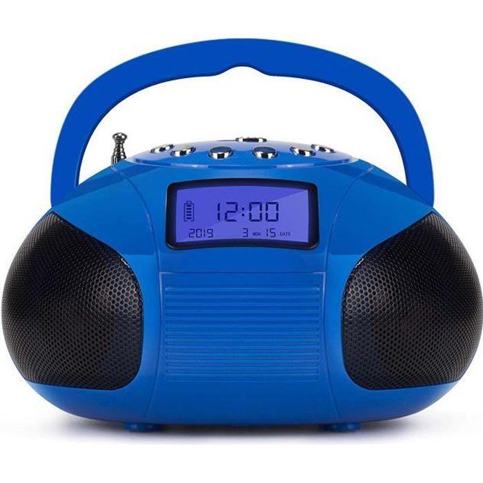 Poste Radio Fm Enceinte Bluetooth Mp3 – August Se20 Bluetooth, Usb, Carte Sd, Prise Auxiliaire, Et Réveil - Bleu