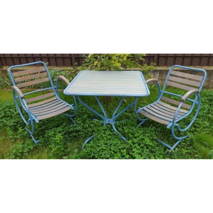 Casa Padrino ensemble de meubles de jardin Art Nouveau vintage bleu ...