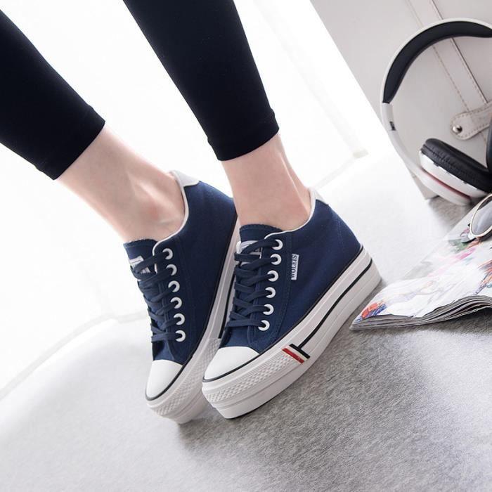SHELOVEIT® Blanc Sneaker Femmes Caché Talon Casual Dentelle Vers le haut