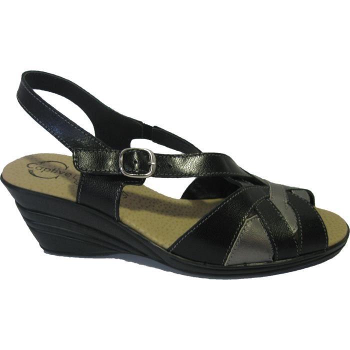 Sandales noires en cuir pour femmes