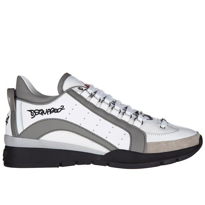Cuir 551 En Dsquared2 Blanc Chaussures Sneakers Baskets Homme SUVzMpq
