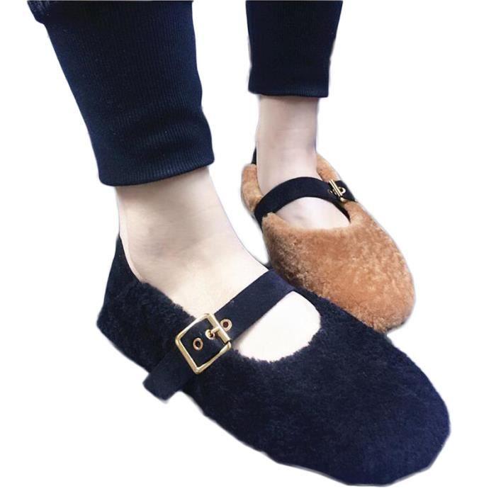 Femme Chaussure Solide Bouton Souple Fond Plat Mode Nouveau Tempérament Chic Charme Courant Hiver Chaud