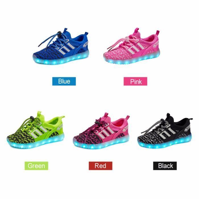 LED Sneakers légère garçons Charge chaussure lumineuse enfants Sports chaussures Baskets à lacets taille 25-37