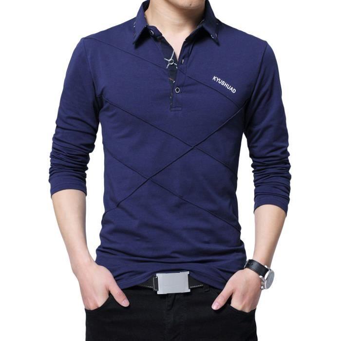 Manches Longues Bleu Polo Pour Coton En À Hommes oexrBWCd