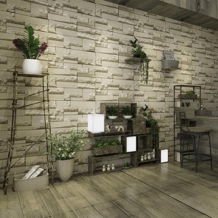 3d Papier Peint Brique Vintage Modele Briques Forme Salon Chambre Tv