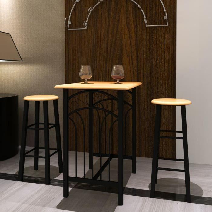 D'une Bar 2 Tabourets Meubles Table Haute Chaises Marron Cuisine Et Manger Avec Lot De Salle À Ensembles Noir 29EDHWI