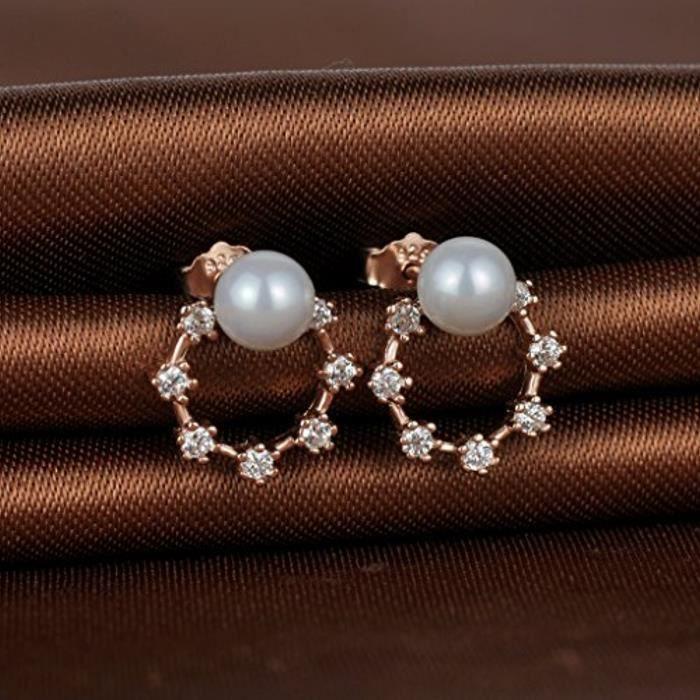 Boucle DOreille De Perle En Argent 925 Et Zircon Le Cercle Brillant Jolie Fleur Élégante Pour Femme Fille