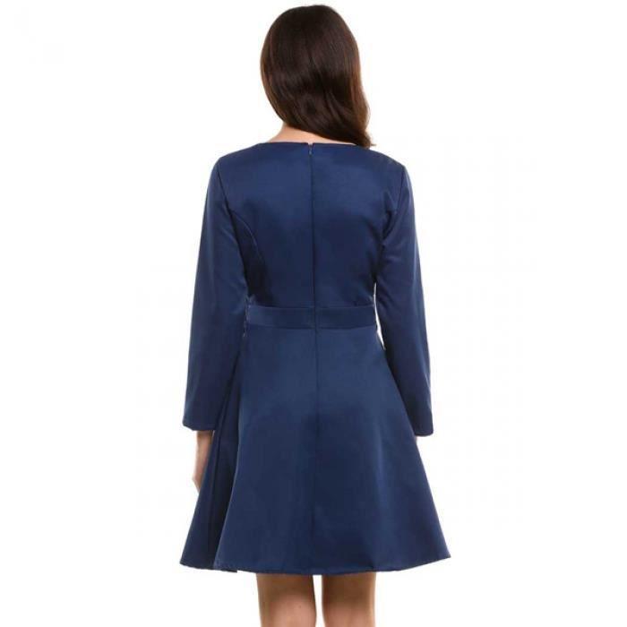 Robe femmes Casual manches longues col O solide ourlet plissé-ligne tunique avec doublure