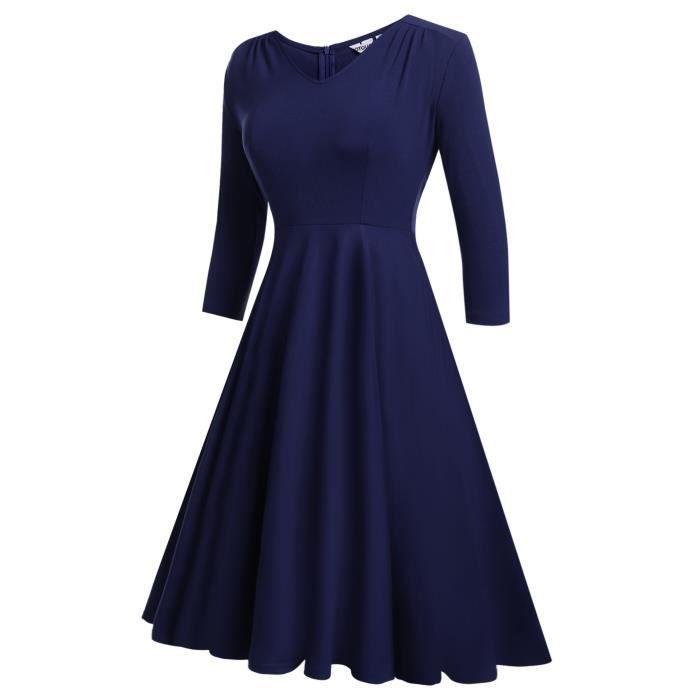 Les années 1950 Vintage femmes col V à manches 3-4 plissés swing robe de cocktail 2KK0XK Taille-38