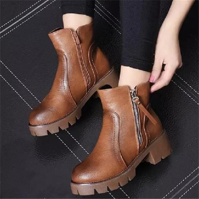 Bottines Femmes Automne Hiver talon épais en cuir bottes TYS-XZ019Marron39 lKMsXTG3M