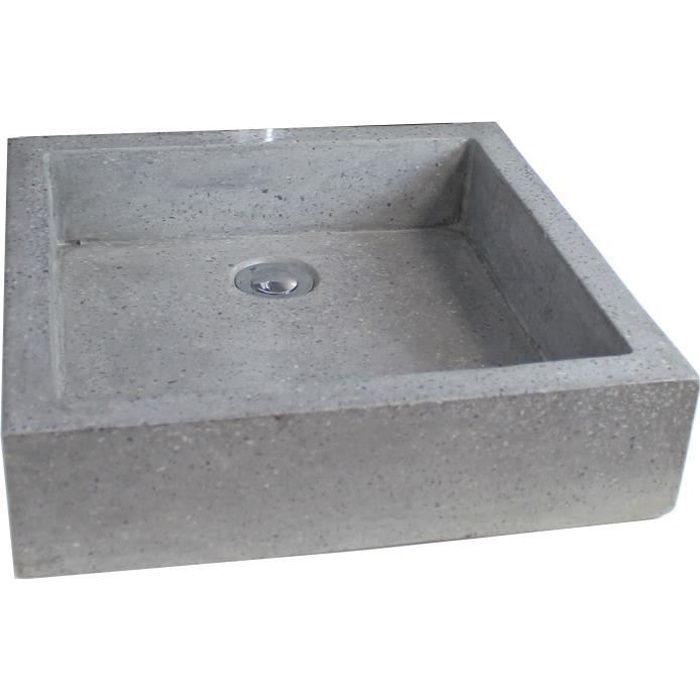 vasque en terrazzo timbre 40x40cm gris achat vente lavabo vasque vasque terrazzo timbre 40. Black Bedroom Furniture Sets. Home Design Ideas