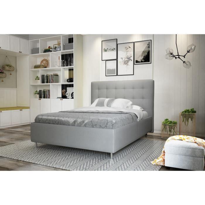 finlandek lit adulte tyyli contemporain pieds en m tal gris l 153 x l 200 cm achat vente. Black Bedroom Furniture Sets. Home Design Ideas