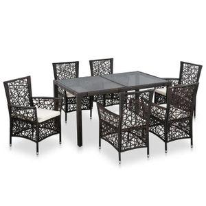 7 pcs Mobilier de jardin Résine tressée Marron - 1 table et 6 ...