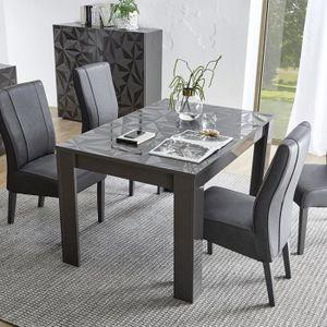 TABLE À MANGER SEULE Table extensible design gris laqué PAOLO 3 Gris L